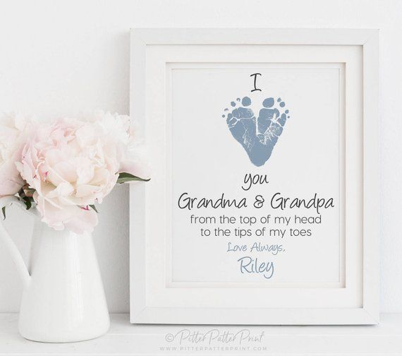 Gift for Grandparents from Baby, Grandparents Day, Christmas, Baby Footprint Art, Personalized, Your Child's Feet, 8x10 or 11x14, UNFRAMED #grandparentsdaygifts Gift for Grandparents from Baby Grandparents Day Christmas | Etsy #grandparentsdaycrafts