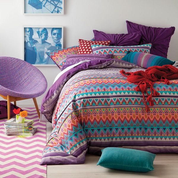 are you bold enough to try this purple colour palette for your bedroom?
