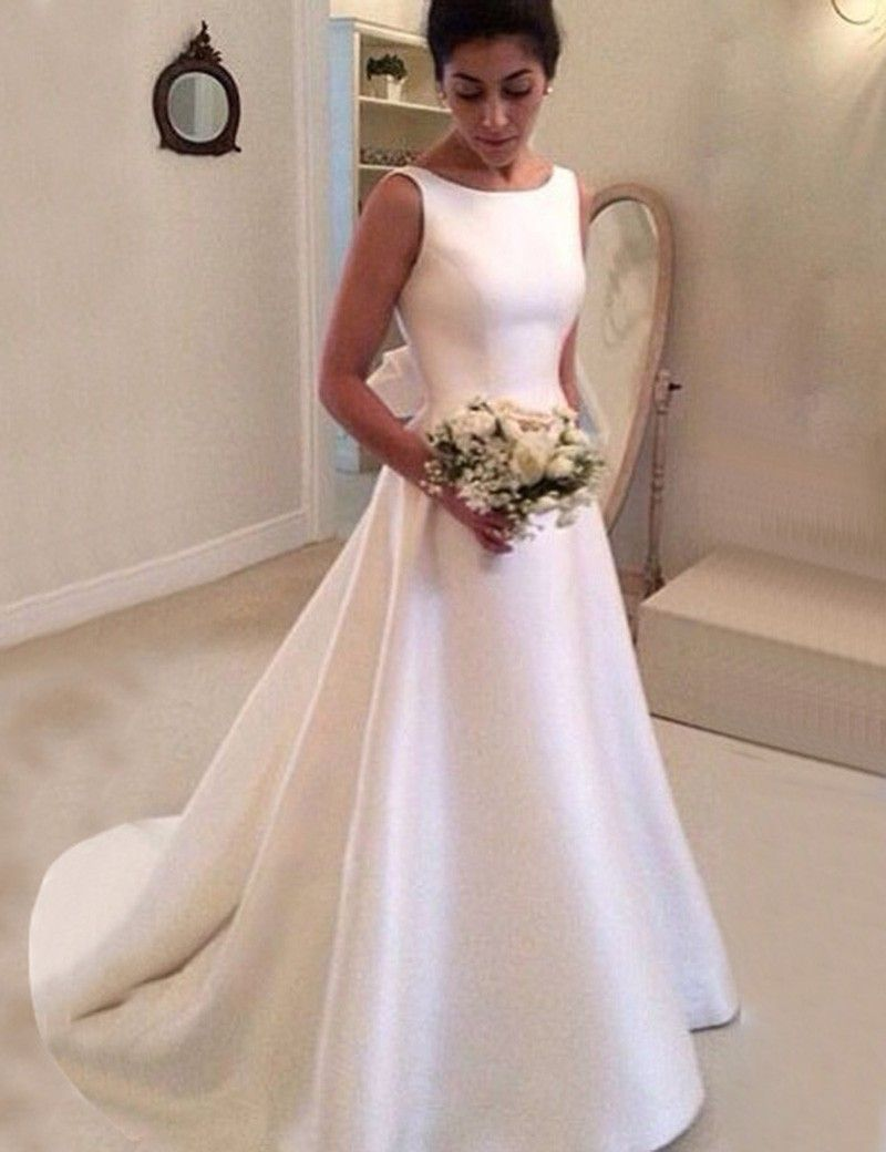 Simple bateau backless court train a line wedding dress with bowknot simple bateau backless court train a line wedding dress with bowknot junglespirit Images