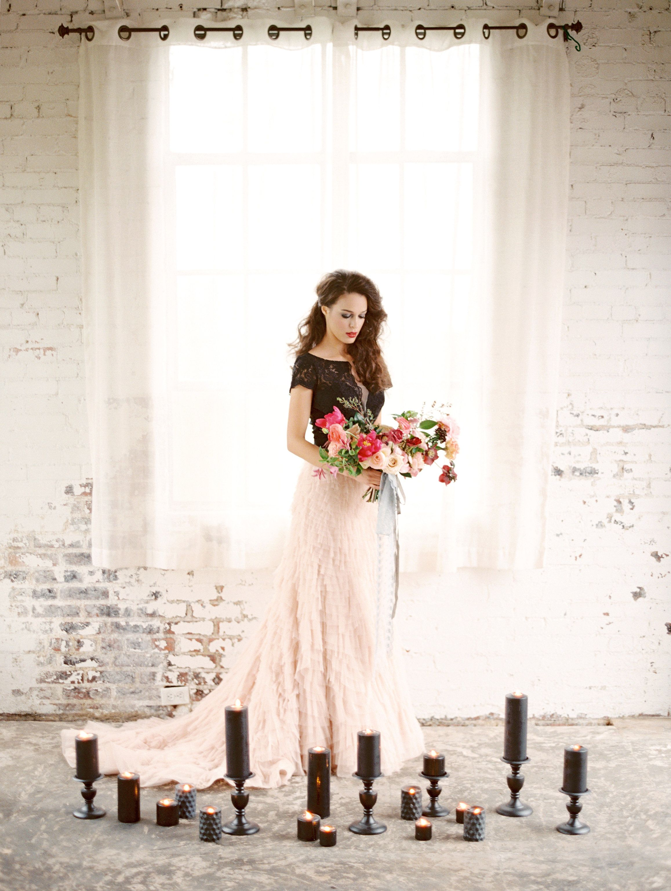 Black and blush wedding dress  watterswtoo Encore Guava dress in Black with Milada skirt Photo by