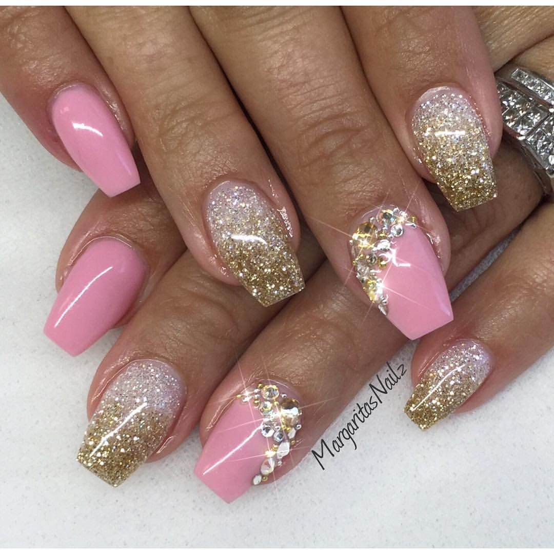 Pink Nailz with White and Gold Glitter Bling | Coffin nails design ...