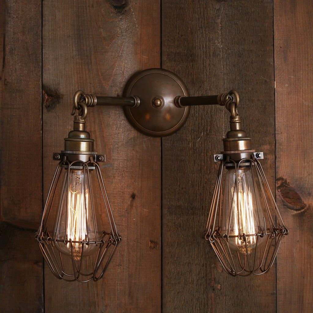 Industrial Double Arm Cage Wall Light Kitchen Dining Pinterest Orlando Vintage Wire Retro Sconce Brass Maybe For The Brick