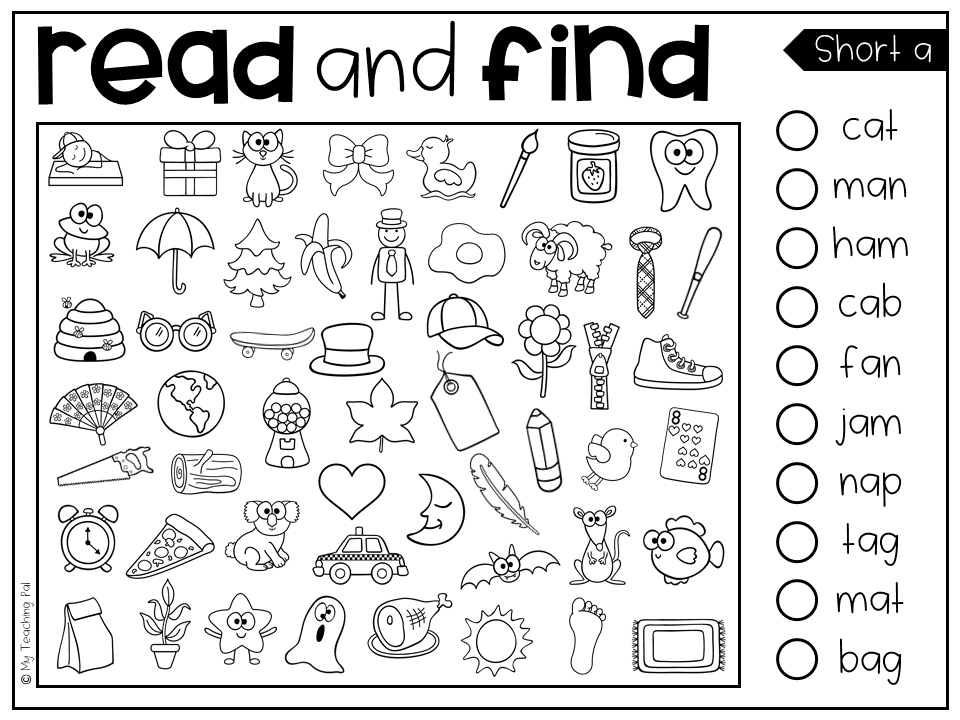 Read And Find Picture Puzzles Short Vowels And Long Vowels Preschool Reading Kindergarten Reading Word Activities