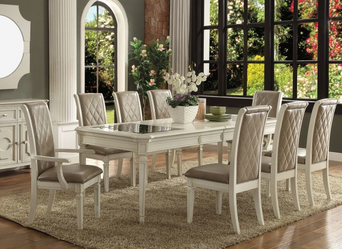 Astonishing Acme 62090 Antique White Dining Set Fancy Oc Dining Bralicious Painted Fabric Chair Ideas Braliciousco