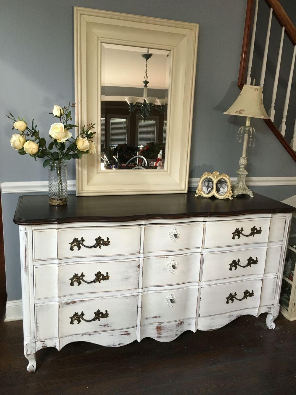French Provincial Dresser Old White Chalk Paint Distressed White Bedroom Furniture Refurbished Furniture Diy Refurbished Furniture