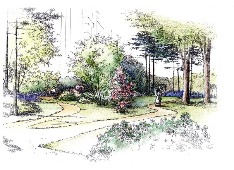 Related image sketches hand renderings pinterest for Croquis jardin paysager