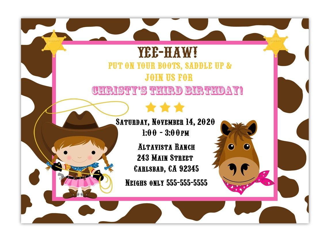Neighs only hahaha cute first birthday pinterest cowgirl custom cowgirl birthday party invitation choose by cherishedtimes filmwisefo Images