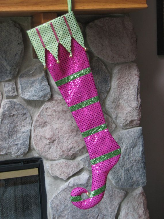 Hot Pink Lime Green Elf Toe Sequin Stocking By Miladycreations 35 00