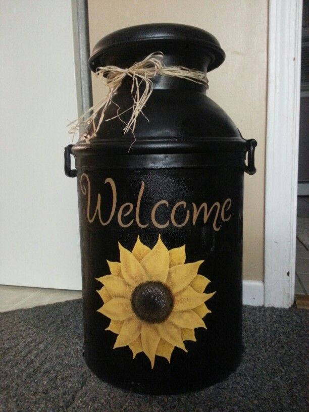 Sunflower Milk Can Painted Milk Cans Milk Can Decor Old Milk Cans