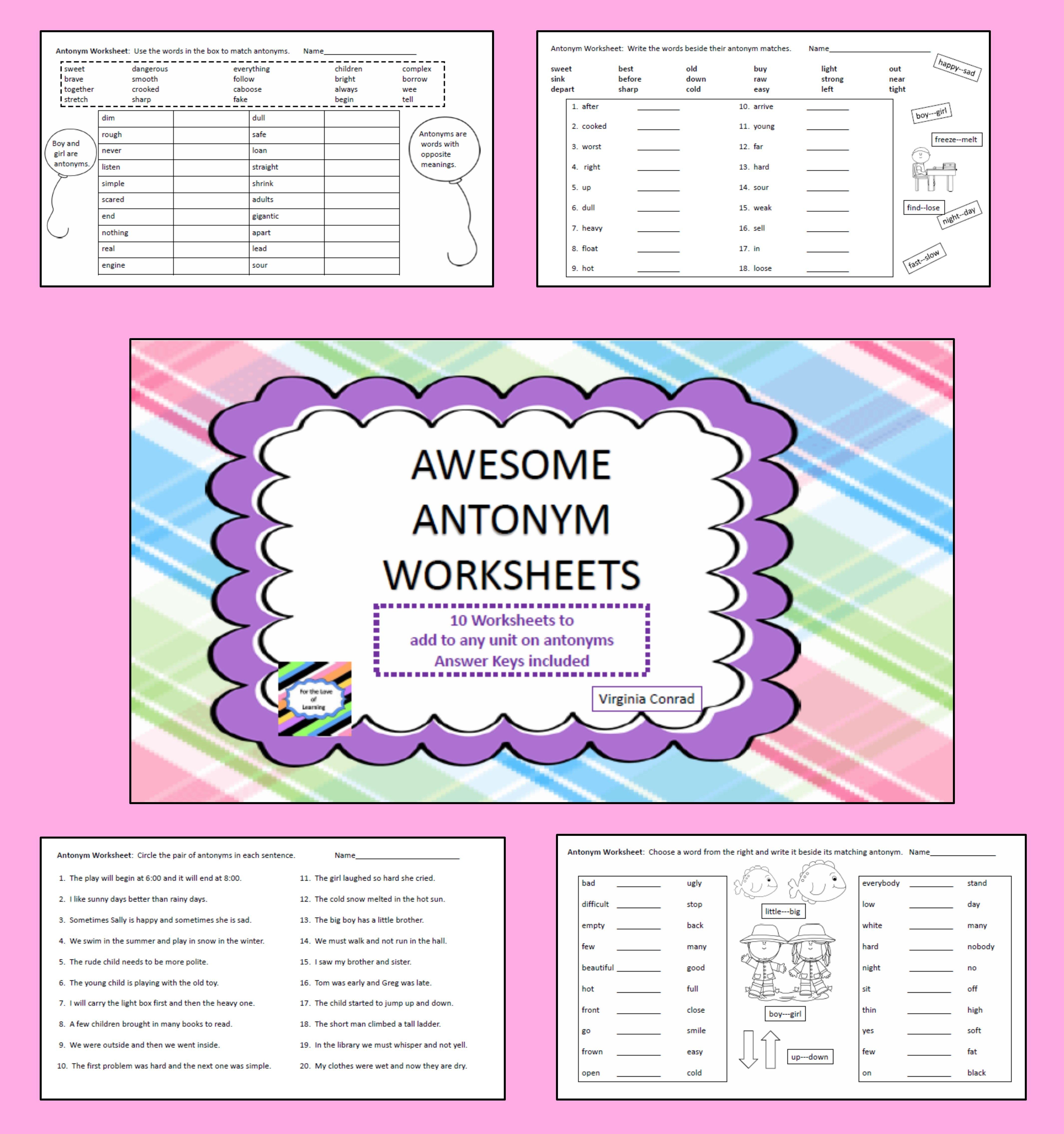 Antonym Worksheets