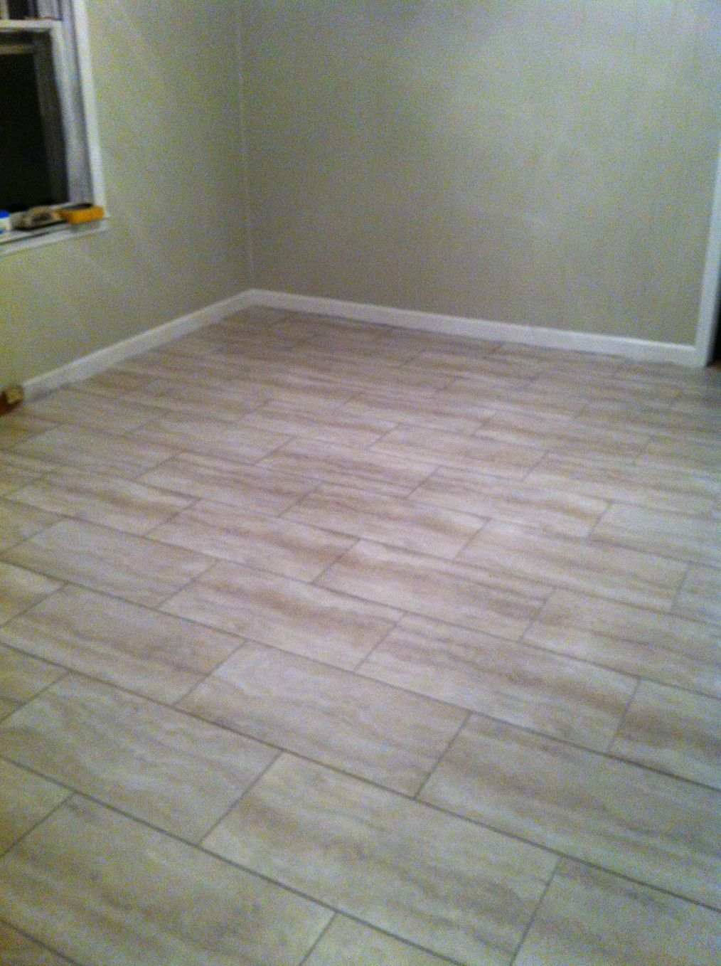 Style Selections Oyster Travertine Vinyl Tile Bathroom
