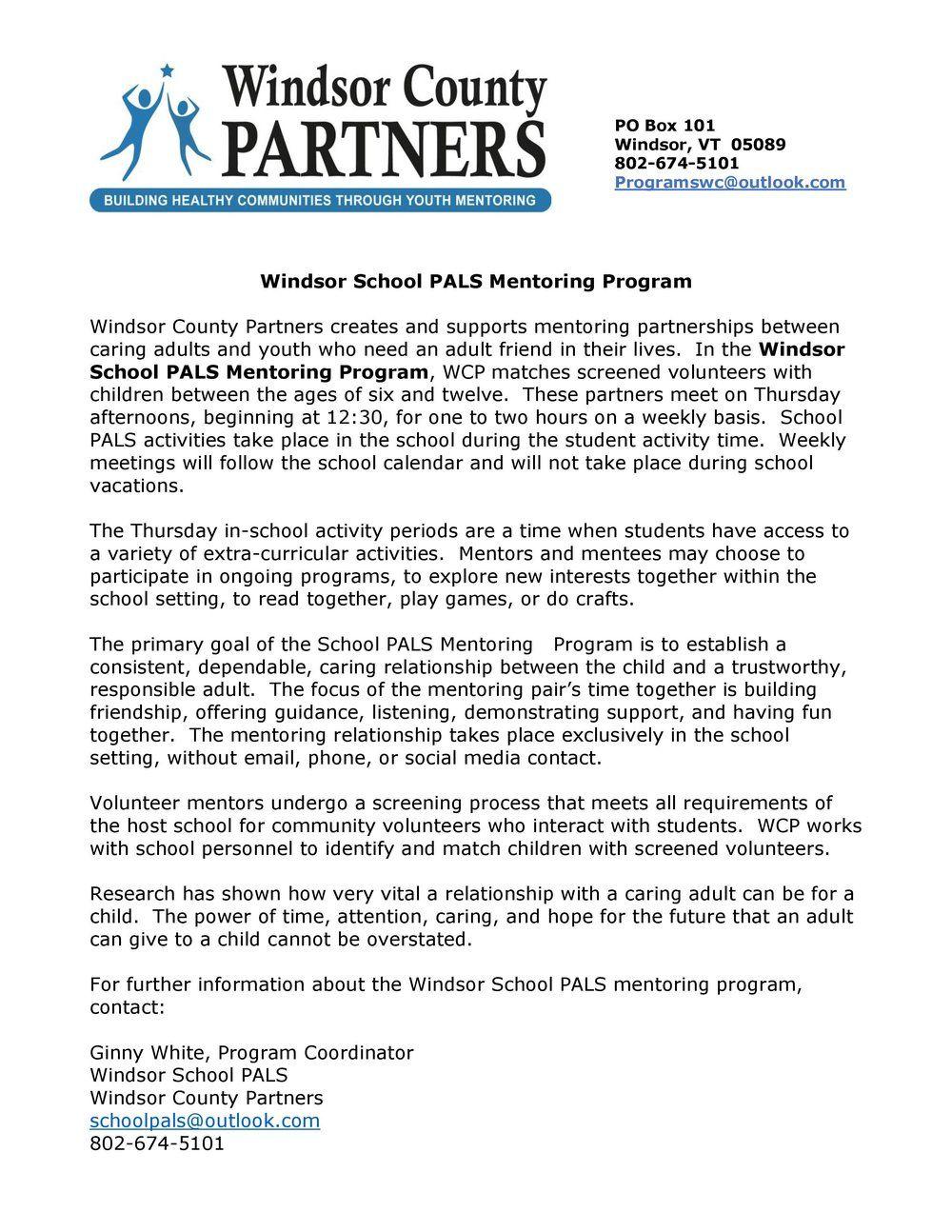 Windsor School PALS Mentoring Program Mentor, School, Pals