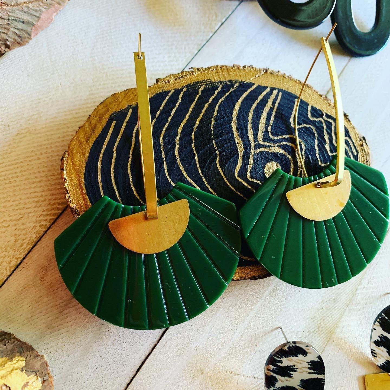 Statement cowrie shell Earring Cowrie shell Jewelry Geometric Jewelry Brass Geometric earrings Brass and Cowrie Shell Statement Earrings
