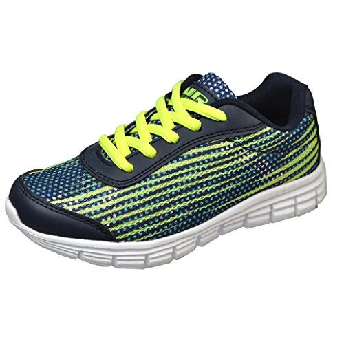 73e0982b6d2b awesome Air Balance Girls Navy Neon Green Lightweight Cross Trainer Shoes  Bowling Shoes