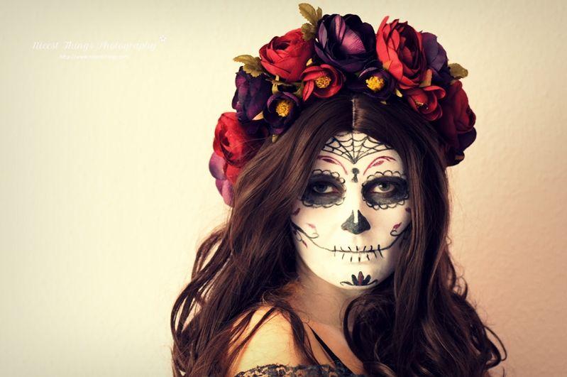 dia de los muertos sugar skull makeup diy blumenkranz floral headbands diy flower crown and. Black Bedroom Furniture Sets. Home Design Ideas