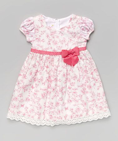 Another great find on #zulily! Pink Toile Cap-Sleeve Dress - Infant & Toddler by Gerson & Gerson #zulilyfinds