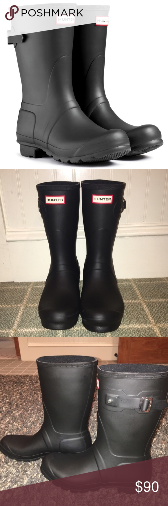 NWOT Black Hunter Boots Never ever been worn black matte Hunter rain boots- accidentally bought the wrong size and they were not returnable. No flaws, have been sprayed with Hunter Boot Buffer Spray. Hunter Boots Shoes Winter & Rain Boots