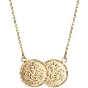 5fbfeb361e51a 9ct St George Double Coin Necklace <p><span>Create a look that is ...