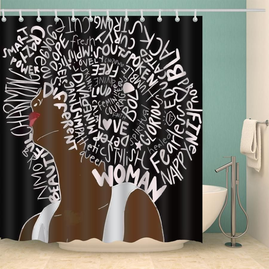 Unapologetically Black Culture Power Girl Shower Curtain Bathroom Decor Girls Shower Curtain Black Shower