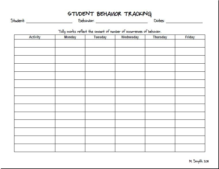 Challenging Behaviors Behavior Tracker Student Behavior