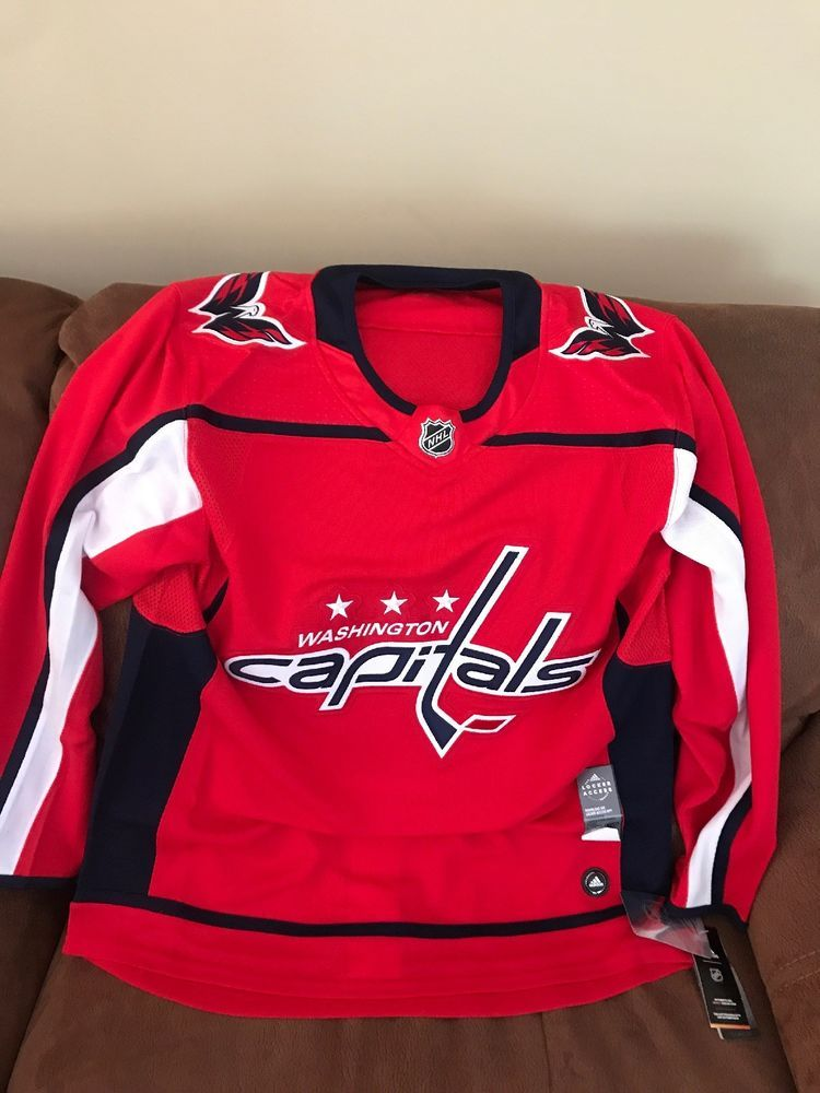 6d55b133a2b Adidas Authentic Climalite Washington Capitals Hockey NHL Jersey NWT Size  52 Men