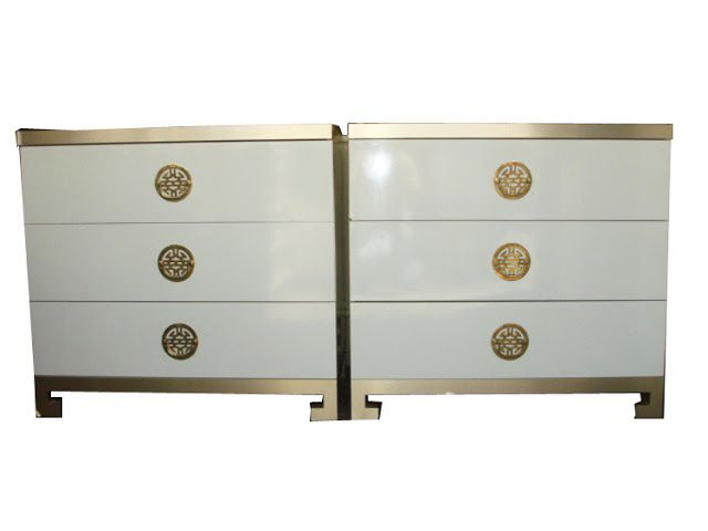 White Lacquer Gold Asian Dressers Design Manifest