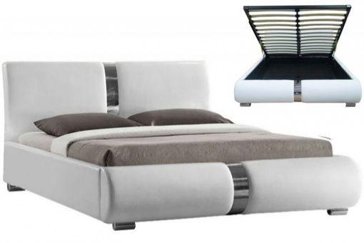 lit coffre sommier relevable blanc vitara 160 cm deco design - Lit Coffre Pas Cher