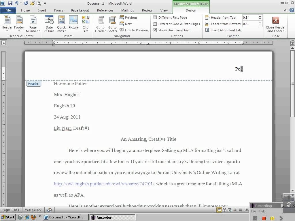 setting up mla header with microsoft word 2010 _ composition 1st page mla
