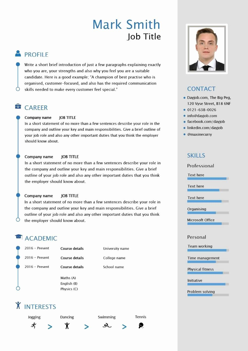 Format for curriculum vitae best of free able cv template
