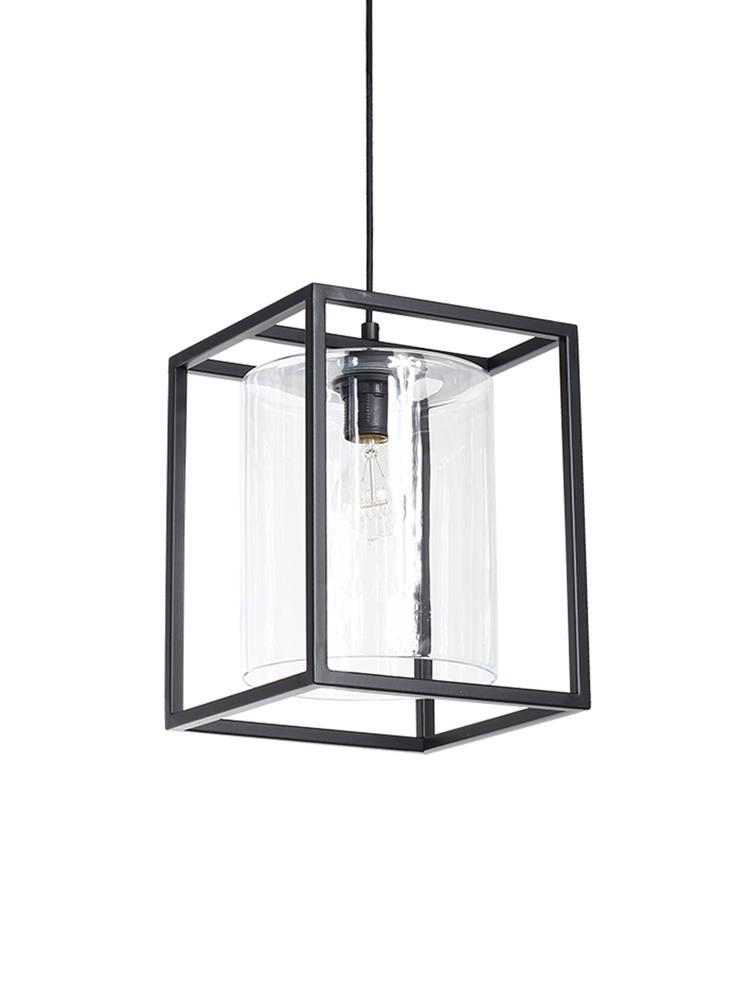 Consisting of a glass cylinder contained by a black rectangular frame, our  statement pendant light will add a unique touch to your interior.