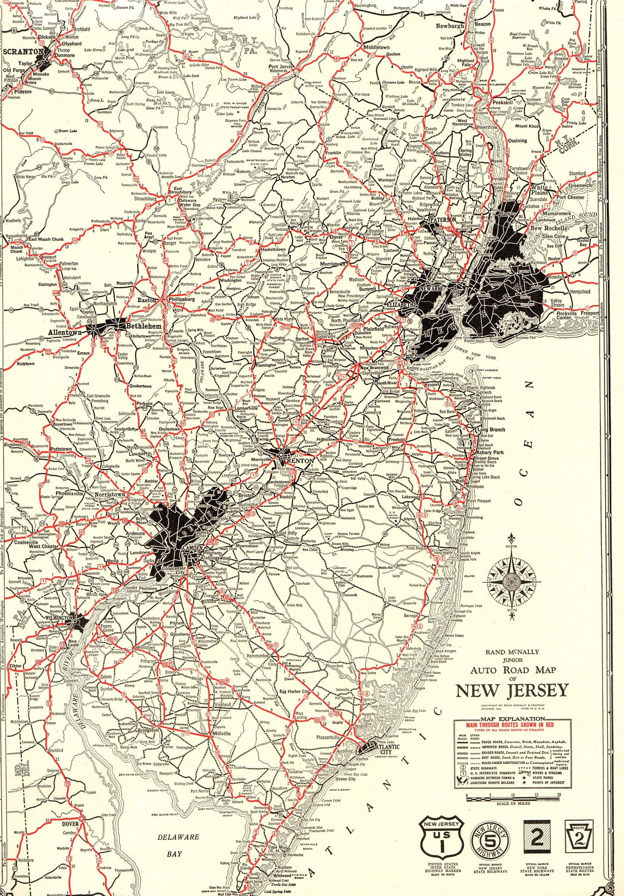 1930 Rare Size Antique New Jersey Road Map Poster Print Black And