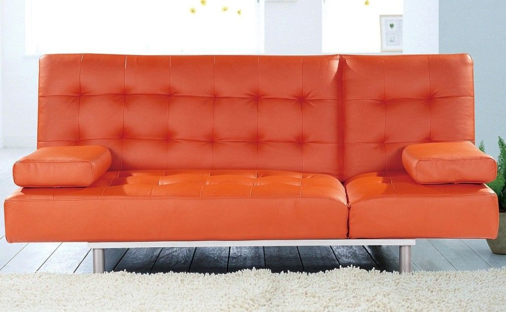 charming bright orange sleeper sofa leather material two pillows. Interior Design Ideas. Home Design Ideas