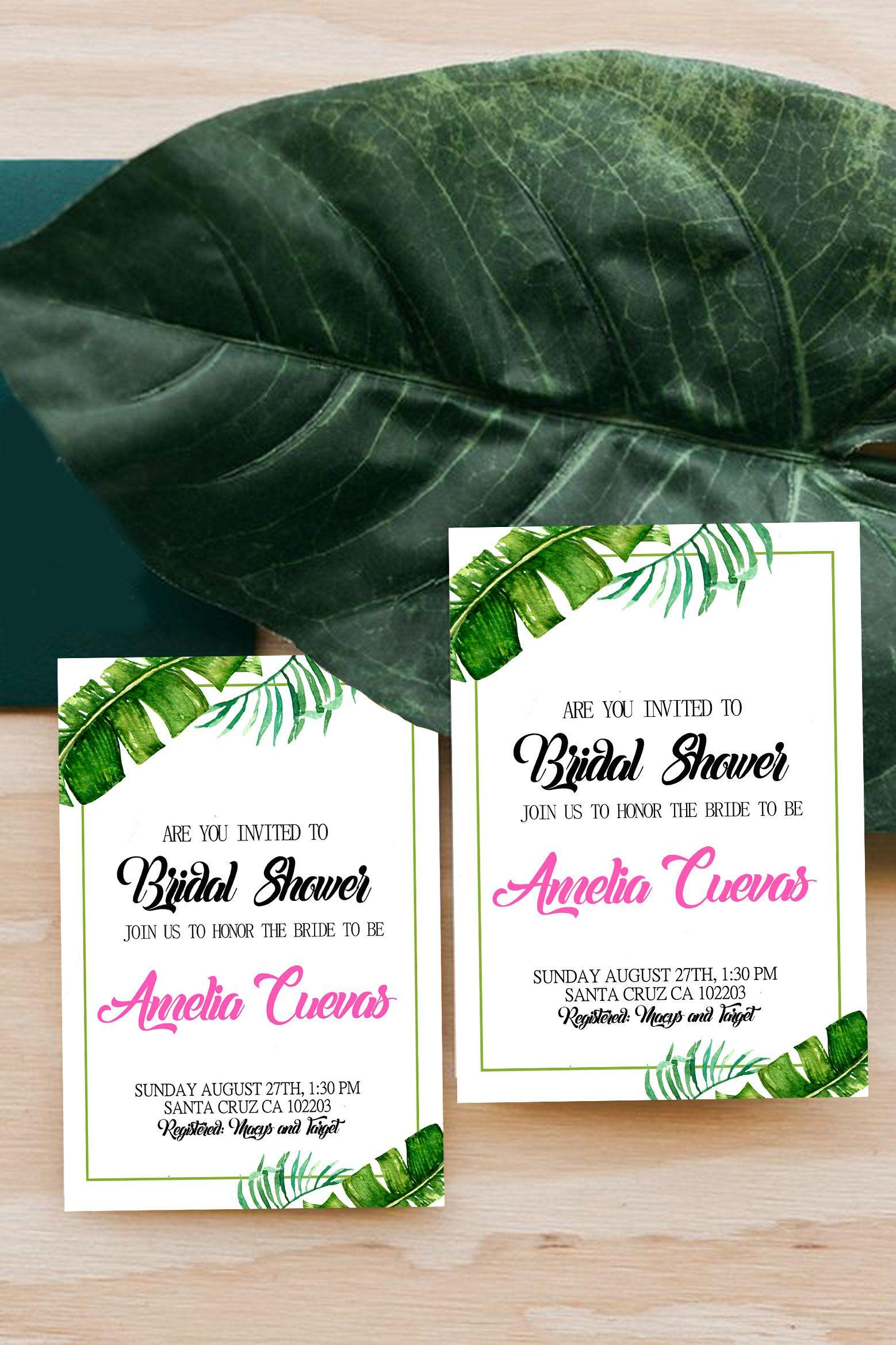 tropical invitation bridal shower invites summer hawaiian palm