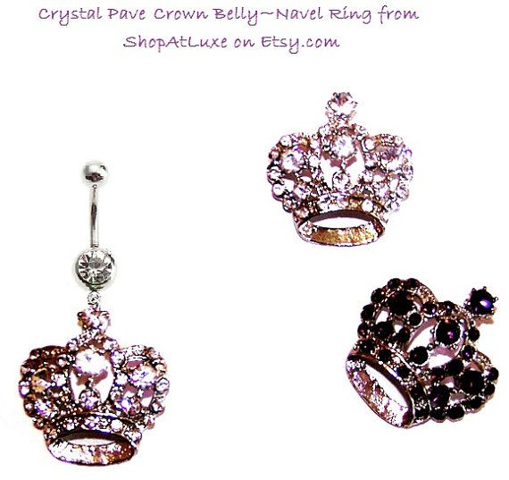 Crystal Pave Crown Belly Button Dangle Navel Rings by SHOPATLUXE, $4.99