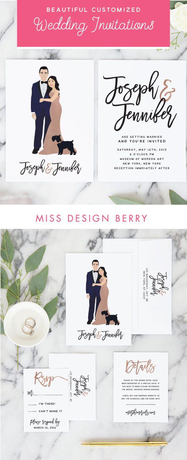 Rose Gold Wedding Invitations with Couple Portrait Wedding Invite ...