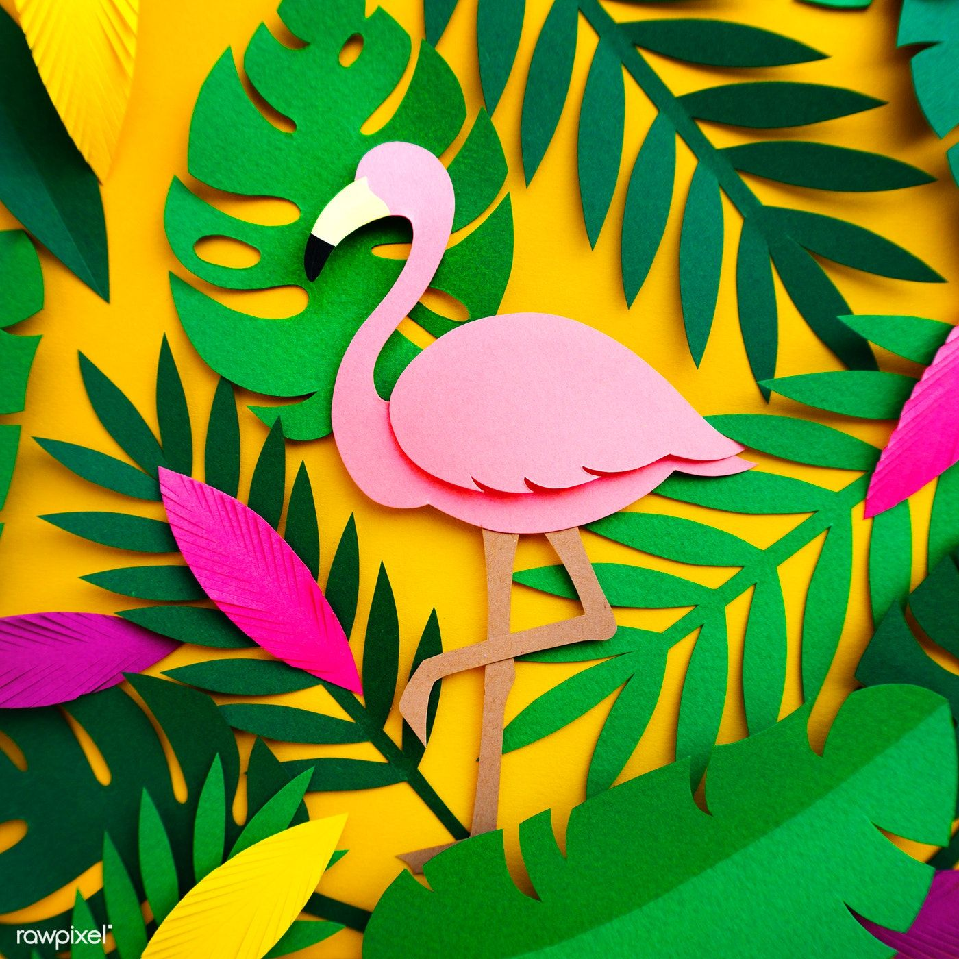 Photo of Download premium image of Flamingo Nature Papercraft Leaves Plants 261647