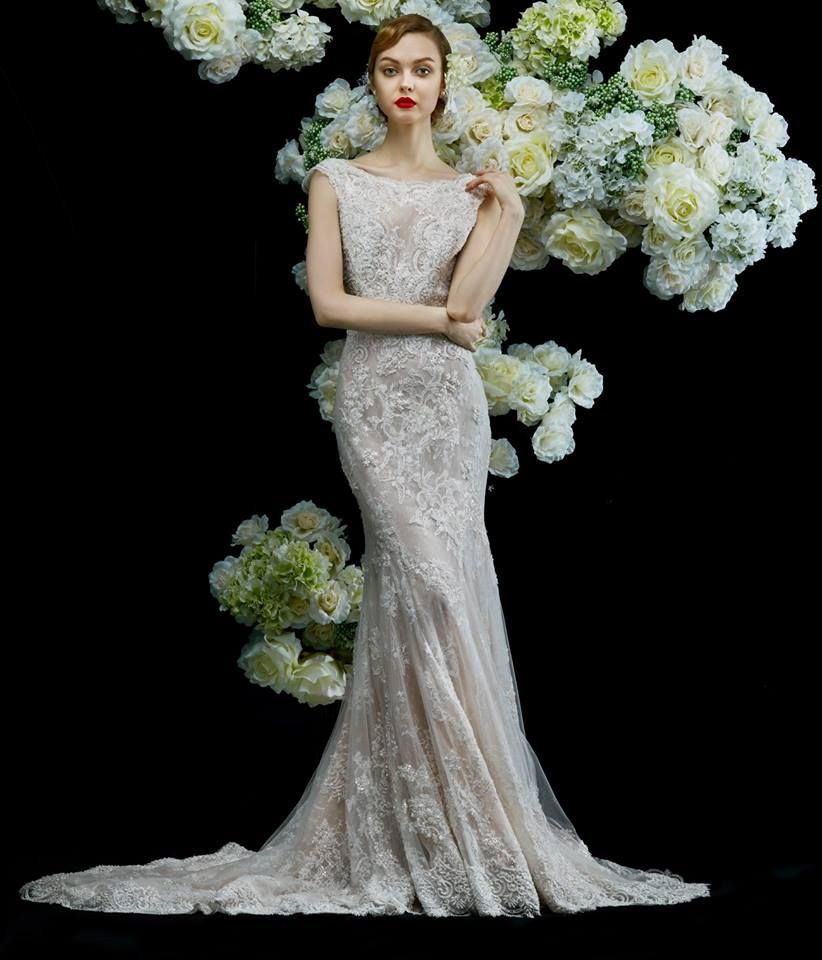 Annasul Y This Vintageinspired Mermaid Gown Features Lace Embroidery Shimmering Beads Allover: Y Vintage Mermaid Wedding Dress At Websimilar.org