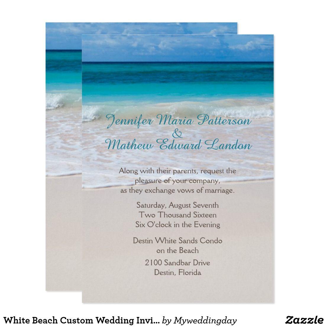 White Beach Custom Wedding Invitation | Vintage Wedding Invitations ...