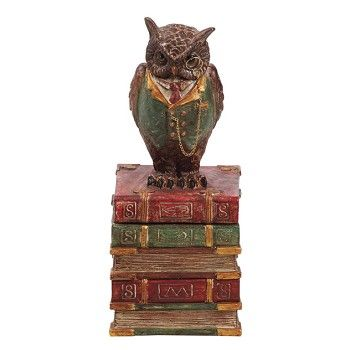 9 Inch High Decorative Owl and Book Box