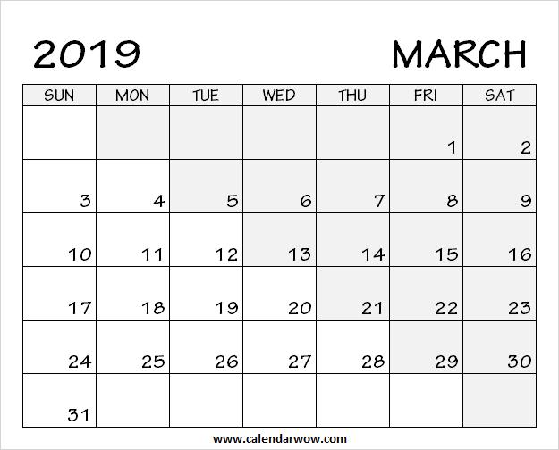 Printable Blank March 2019 Calendar Download Free Calendar Template