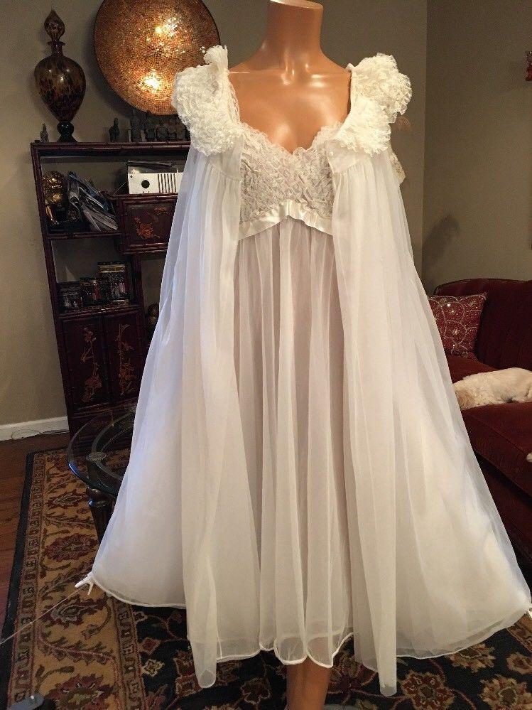 Vintage Vanity Fair White Chiffon Nightgown Robe Set 4 Lyr Medium