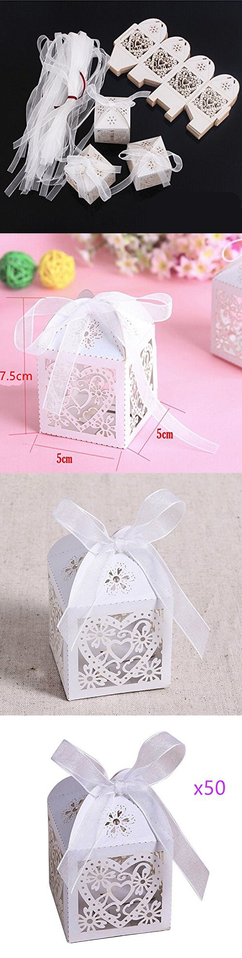 Yansanido candy Gift Boxes Bag with Ribbons Wedding Favors Candy ...