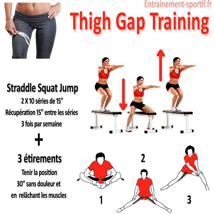 entrainement straddle squat jump et étirement des adducteurs ...