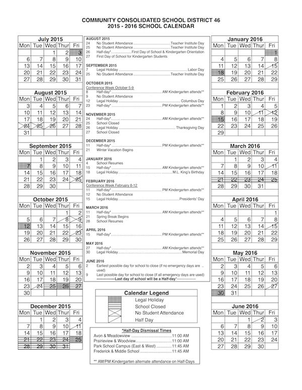 Ccsd Calendar.2015 2016 Ccsd 46 District Calendar About Ccsd 46 Calendar