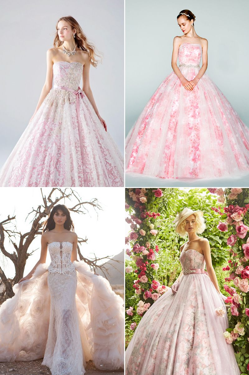 A dash of romance wedding dresses with a touch of pink colored