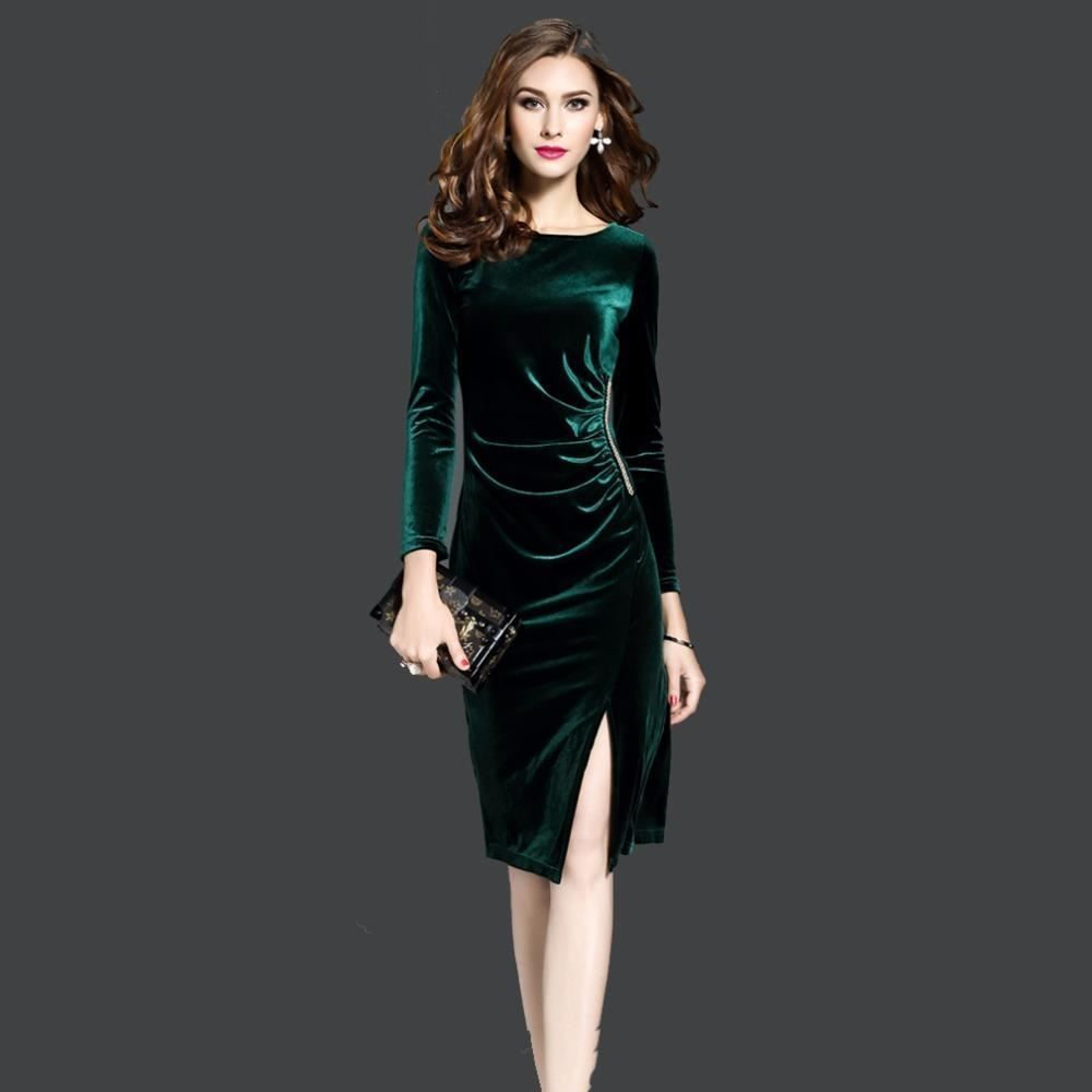 90ee3b6b43a1a Women Velvet Plus Size Long Sleeve O Neck Knee-length Sid Split Party Dress   fashion  clothing  shoes  accessories  womensclothing  dresses (ebay link)