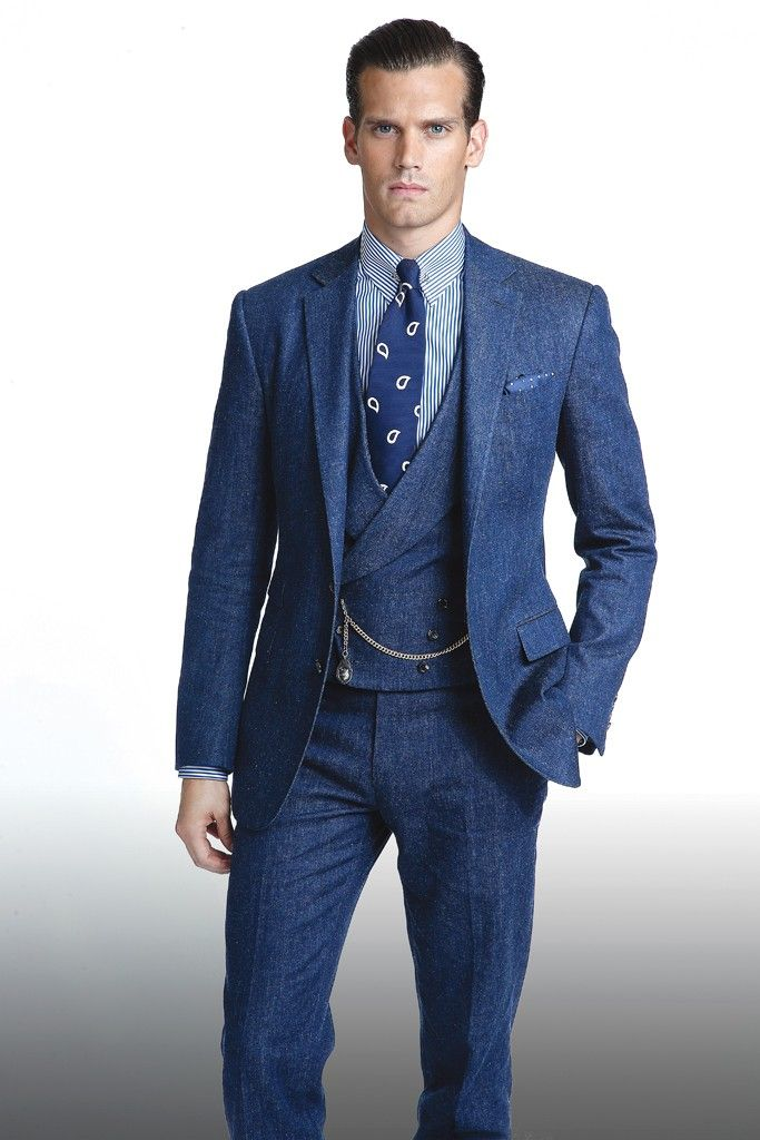 418bb346435a A three-piece denim suit from Ralph Lauren s Purple Label spring 2015  collection.  Photo by John Aquino