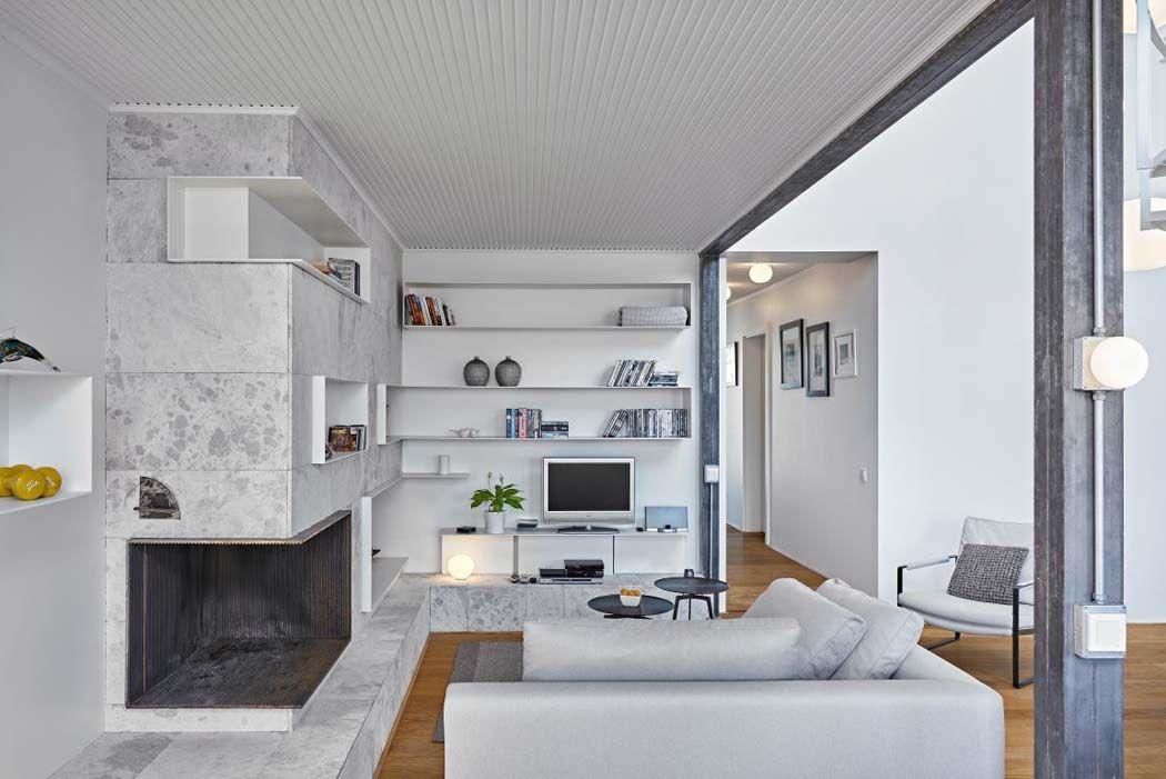 Un intérieur à la décoration fraiche et épuré où les matériaux et les couleurs sont soigneusement choisis voici une maison sur les toits offrant une vue