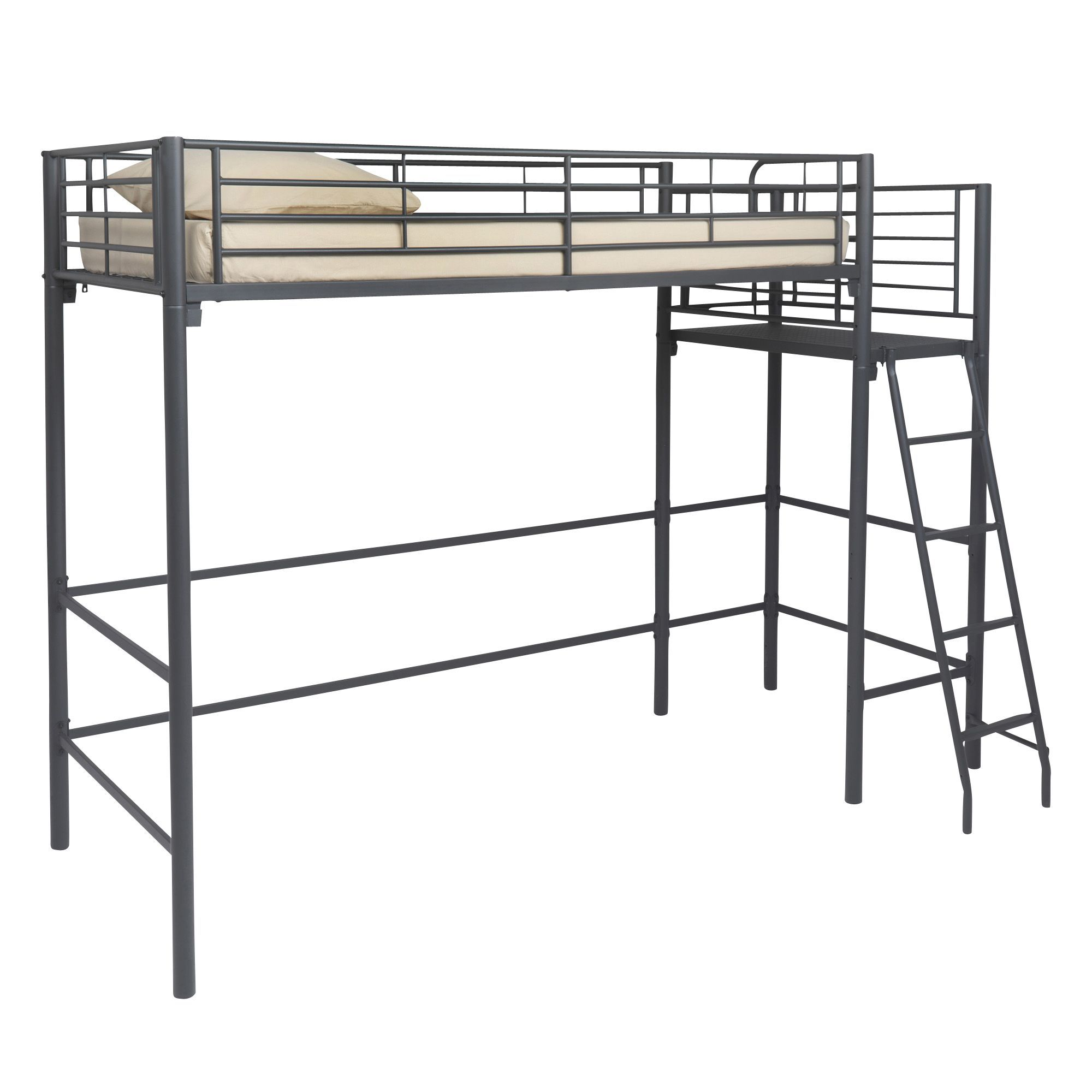 lit mezzanine avec plate forme 90x200cm gris fon alexi. Black Bedroom Furniture Sets. Home Design Ideas