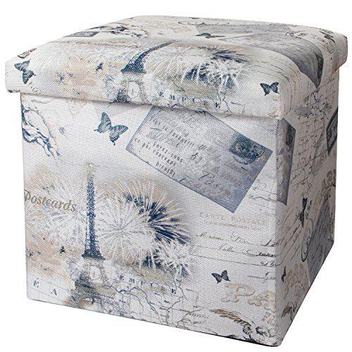 Swell Valdler Home Paris Effiel Tower Folding Storage Ottoman Bralicious Painted Fabric Chair Ideas Braliciousco